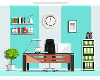 creative furniture icons set flat design. cool graphic office room interior design with furniture chair table bookcase shelves creative icons set flat i