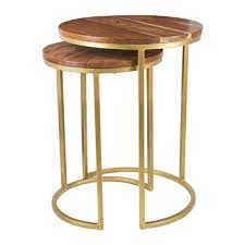 wooden nesting side tables round set of 2
