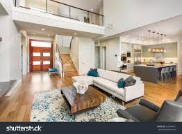 Vaulted Ceiling Living Room Beautiful Large Living Room Interior Hardwood Stock Photo