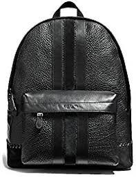 New York F11250 Charles Pebble Leather Baseball Stitch Backpack Bookbag  BLACK. Coach