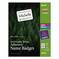 Avery 48395 Ecofriendly Adhesive Name Badge Labels 2 1 3 X 3 3 8 White 80 Pack