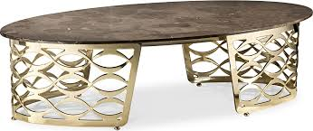 oval coffee table with ceramic marble