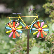 42 metal bicycle wind spinner garden stake