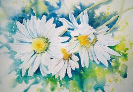 watercolor painting lazy daisies by ruth harris
