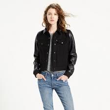 levi s ivy caviar wool leather authentic trucker jacket women s denim jacket larger image