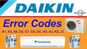daikin air conditioner all error codes