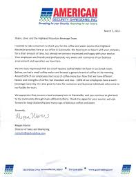 Customer Appreciation Letter Highland Mountain Water Thanking Format