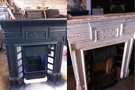 for this fireplace we sandblasted back to the bare metal to remove any old paint or rust then we quickly applied a coat of heat proof matt black paint we
