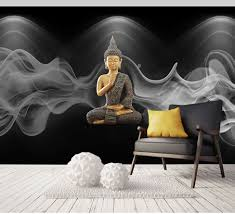 8d Grote Religie Muurschilderingen Boeddhisme Rook Boeddha Behang