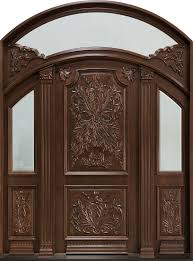 custom front doorsFront Door Custom  Double  Solid Wood with Walnut Finish