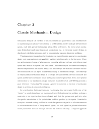 Mechanism Design Theory Classic Mechanism Design Lecture Notes Computer Science