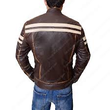 mens dark brown leather cafe racer motorcycle jacket
