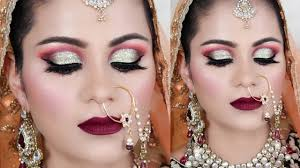 indian muslim bridal makeup tutorial in hindi green gold half cut crease