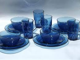 blue dishes vintage cobalt glass set of