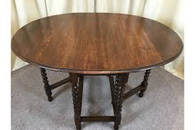 antique oak barley twist drop leaf table 1930 s gate leg dining table photo