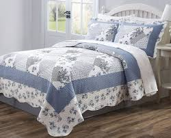 31 best Quilted Bedspreads images on Pinterest | Beautiful ... & 3 PC Quilt Bedspread Blue & White Floral Patchwork Design Full, Queen, King  Size Adamdwight.com