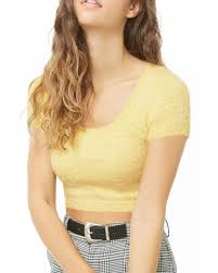 Light Yellow Crop Top Fuzzy Knit Cropped Top Light Yellow