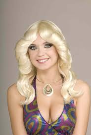 styled blonde wig in the 70 s style great look for the dancing queen charlies