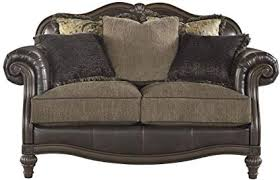faux leather loveseat. Exellent Leather Ashley Furniture Signature Design  Winnsboro Traditional Style Faux  Leather Loveseat 5 Back Pillows In E