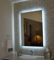 Bathroom Mirror With Lights Built In Curve Clear Tempered Glass ...