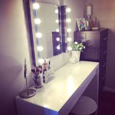accessories furniture charming white makeup vanity with lights and white wooden table featuring purple frame mirror and 5 step drawer combine with white