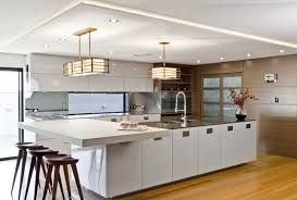 Japanese Contemporary White Kitchen Design with Traditional Japanese Lamp  Lighting Styles and Elegant Wooden Kitchen Stools