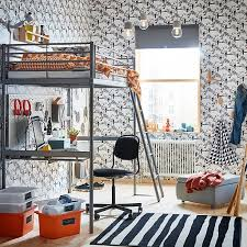 Bedroominspiring ikea office chair Corner Ikea SvÄrta Silver Steel Loftbed Comes With Sturdy Desk On The Bottom Bunk Perfect Ikea Childrens Furniture Ideas Ikea