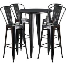 outdoor bar table set inch round black antique gold metal indoor outdoor bar table set