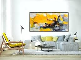yellow gray wall art palette knife painting original horizontal wall art abstract art canvas painting large