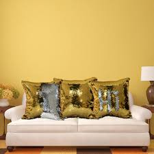 Creative glitter sequins pillow case. DIY your own patterns by just sweep  the sequins from the reverse direction. Suitable for most square pillows.