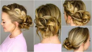 French Braid Updo Hairstyles French Braid Into Messy Bun Youtube