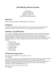 Resume Hotel Resume