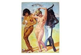 3 women the beach oil painting