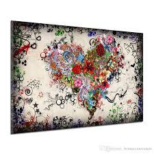 2018 graffiti design abstract wall art heart flowers canvas prints posters painting pictures home decor for living room unframed from homecanvasart  on wall art heart designs with 2018 graffiti design abstract wall art heart flowers canvas prints
