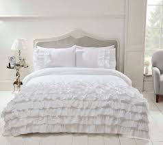 flamenco white frilled duvet cover luxury white frilled bedding single double kingsize
