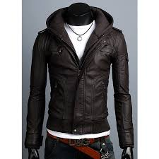 men s slim fit brown faux leather jacket with hoo