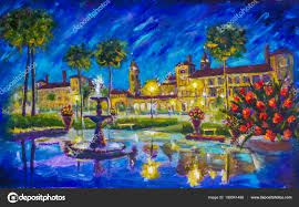 night cityscape urban oil painting flagler college ponce de leon hotel st augustine florida fountain buildings lanterns palm trees red flowers
