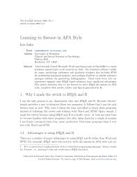 Formatting Latex Documents In Apa Style 6th Edition Using The Apa6