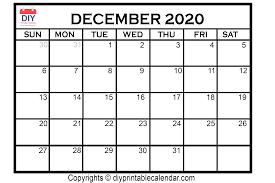 Blank Dec 2020 Calendar December 2020 Printable Calendar Template