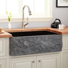 36 Polished Granite Farmhouse Sink Chiseled Apron Black Kitchen