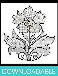 Blackwork Cross Stitch Charts Blackwork Flower With Cross Stitch Downloadable Pdf