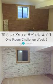 white faux brick wall one room challenge week 3 mylove2create