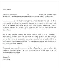 Letter Of Recommendation For Scholarship Template How To Write A