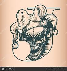 Vintage Joker Lebka Stylu Tatoo černobílé Ručně Kreslenou Stock