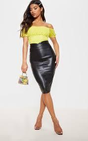 eva black faux leather panel midi skirt image 1