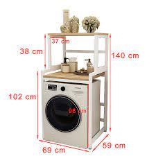 Kệ máy giặt 2 tầng cửa trước KMG03N thương hiệu 9House kệ để đồ trên máy  giặt loại khung thép dày dặn sơn tĩnh điện chống bong tróc, gỗ lõi xanh phủ