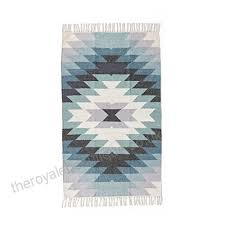 homescapes helsinki handwoven kilim wool rug scandi style geometric pattern blue grey and off white with