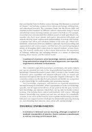 conclusions and recommendations learning science in informal page 297