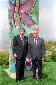filethe reagan library oval office. AV310-5, President Reagan Poses With Mikhail Gorbachev By The Piece Of Berlin Wall At Library. 5/4/92. Filethe Library Oval Office