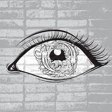 魚と瞳に波目のベクトル創造的なイラストは手で描かれたスタイルを作ったかわいいラインのアートワーク